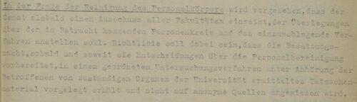 Auszug aus der Archivalie: Einsetzung von Ausschüssen zur Überprüfung des Lehrkörpers durch den Senat der Universität Hamburg