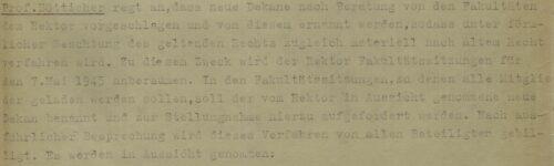 Ausszug aus der Archivalie: Verfahren zur Wahl der neuen Dekane
