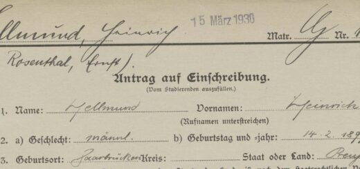 Kopf der Immatrikulationskarte von Heinrich Hellmund